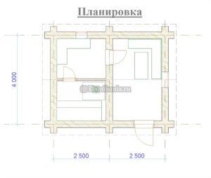 планировка баня 4х5